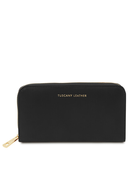Portofel dama din piele naturala neagra, Tuscany Leather, Venere