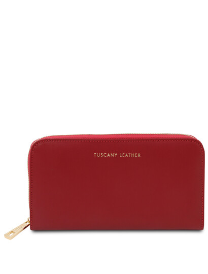 Portofel dama din piele naturala rosie, Tuscany Leather, Venere
