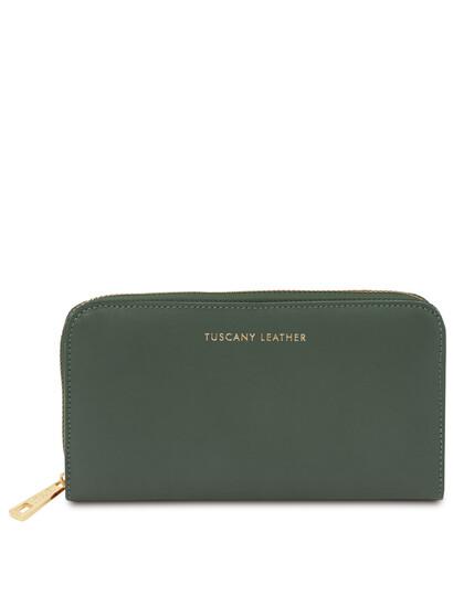 Portofel dama din piele naturala verde, Tuscany Leather, Venere