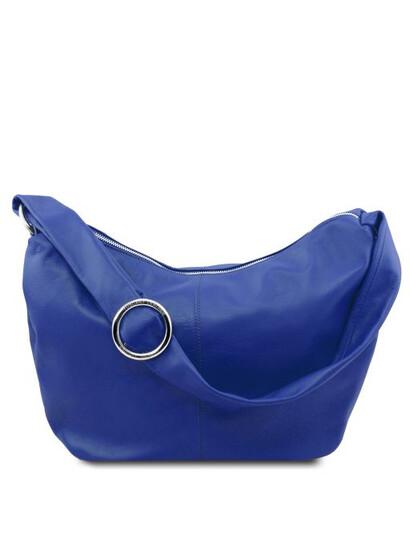 Geanta hobo din piele albastra Tuscany Leather, Yvette