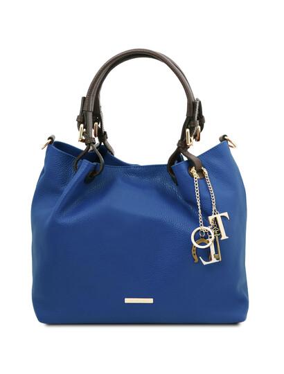 Geanta dama, din piele naturala albastra, Tuscany Leather, TL KeyLuck