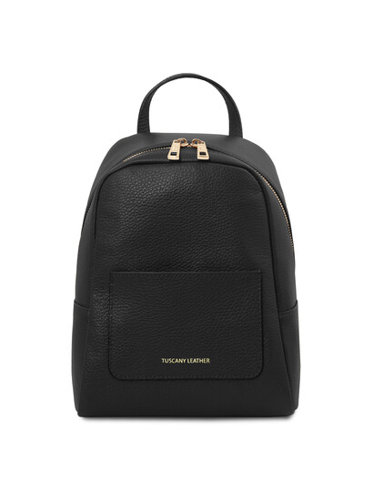Rucsacel dama din piele naturala neagra, Tuscany Leather, TL BagS
