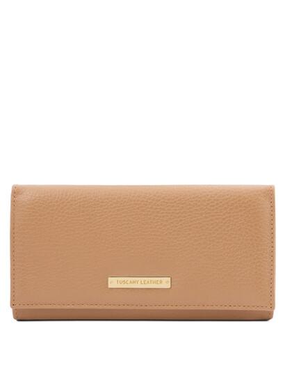 Portofel dama din piele naturala sampanie, Tuscany Leather, Nefti