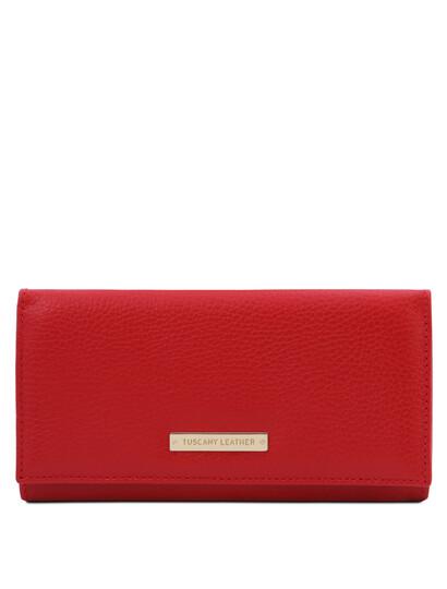 Portofel dama din piele naturala rosu aprins, Tuscany Leather, Nefti