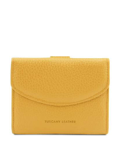 Portofel dama din piele naturala galbena, Tuscany Leather, Calliope