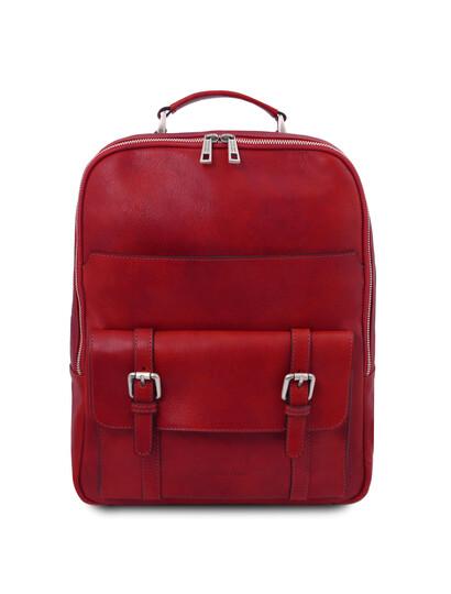 Rucsac laptop piele naturala rosie Tuscany Leather, Nagoya