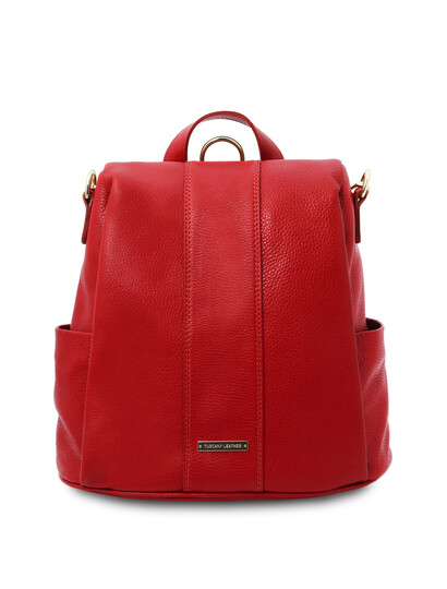 Rucsac dama piele naturala rosu aprins Tuscany Leather