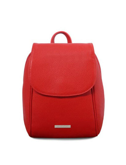 Rucsac dama din piele naturala rosu aprins Tuscany Leather, TL Bag