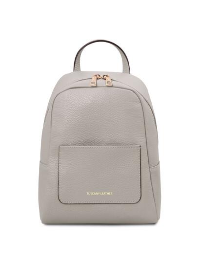Rucsacel dama piele naturala gri deschis, Tuscany Leather, TL Bag
