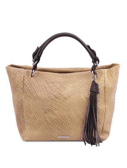 Geanta dama din piele naturala bej, printata, TL Bag Woven