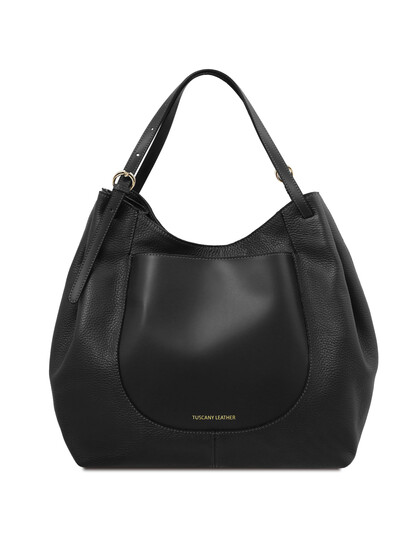 Geanta dama din piele naturala neagra Tuscany Leather, Cinzia