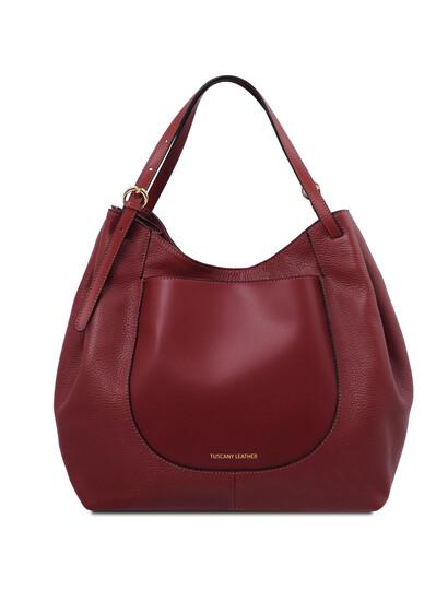 Geanta dama din piele naturala rosie, Tuscany Leather, Cinzia