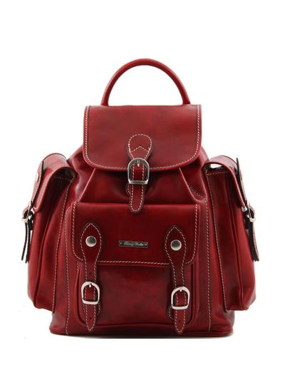 Rucsac dama din piele naturala Tuscany Leather rosu Pechino