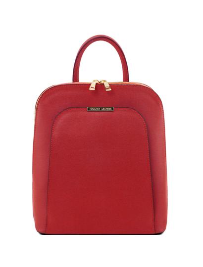 Rucsac dama din piele naturala Tuscany Leather, rosu