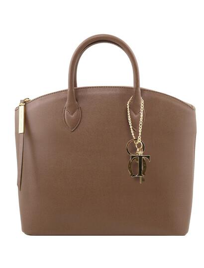 Genti dama   TL KeyLuck - Geanta Piele Saffiano Light Taupe - Tuscany Leather