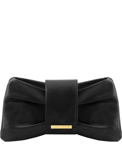 Genti dama   Priscilla - Clutch din piele Negru - Tuscany Leather