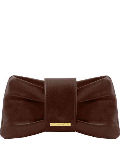 Genti dama | Clutch din piele Maro Inchis - Tuscany Leather