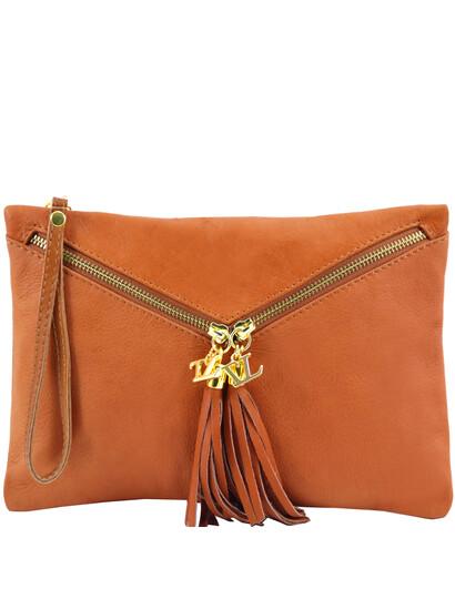 Genti dama | Audrey - Clutch din piele Cognac - Tuscany Leather