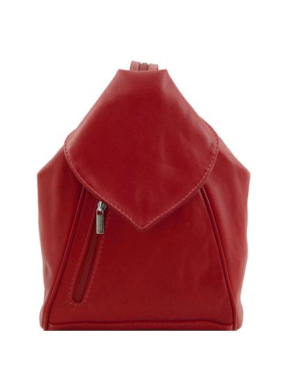 Rucsac dama din piele naturala Tuscany Leather, rosu, Delhi