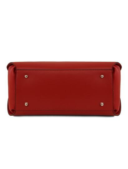 Geanta moderna  de mana Tuscany Leather rosie din piele naturala Flora