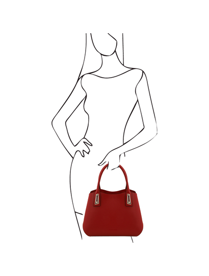 Geanta functionala de mana Tuscany Leather rosie din piele naturala Flora