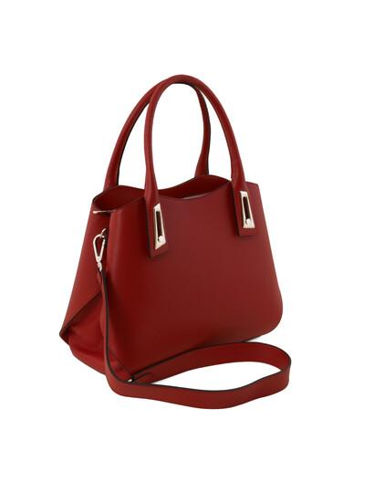 Geanta de mana rosie  Tuscany Leather  din piele naturala Flora