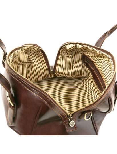 Geanta incapatoare piele naturala  Tuscany Leather, maro, Eveline