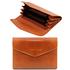Portofel dama din piele naturala Tuscany Leather, tip acordeon, honey