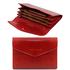 Portofel dama din piele naturala Tuscany Leather, tip acordeon, rosu