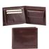 Portofel din piele Tuscany Leather cu trei pliuri si buzunar monede maro inchis
