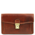 Borseta de mana barbati Tuscany Leather din piele naturala maro Tommy