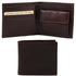 Portofel barbati din piele naturala Tuscany Leather cu buzunar monede, maro inchis