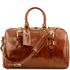 Geanta voiaj din piele honey, cu catarame, marime mare, Tuscany Leather, Voyager