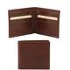 Portofel barbati Tuscany Leather cu doua pliuri din piele maro